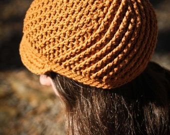 "Crochet Pattern ""Pinwheel Newsboy Cap"" Baby-Adult sizes, spiral design brimmed hat"