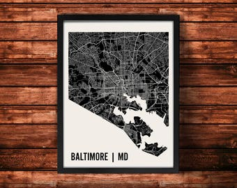 Baltimore Map Artwork | Map of Baltimore | Baltimore Maryland Map | Baltimore City Map | Baltimore Poster | Baltimore Wall Art Print