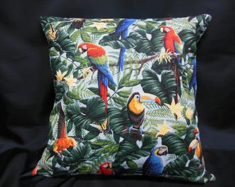 Parrots on light blue background (C291), square Cushion cover