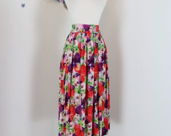 "1980s Skirt - Floral Pleated Multicoloured Midi - Full Flare Skirt - Pockets - Red Purple Green - Vintage - Size S/M 24-30"" Elastic Waist"