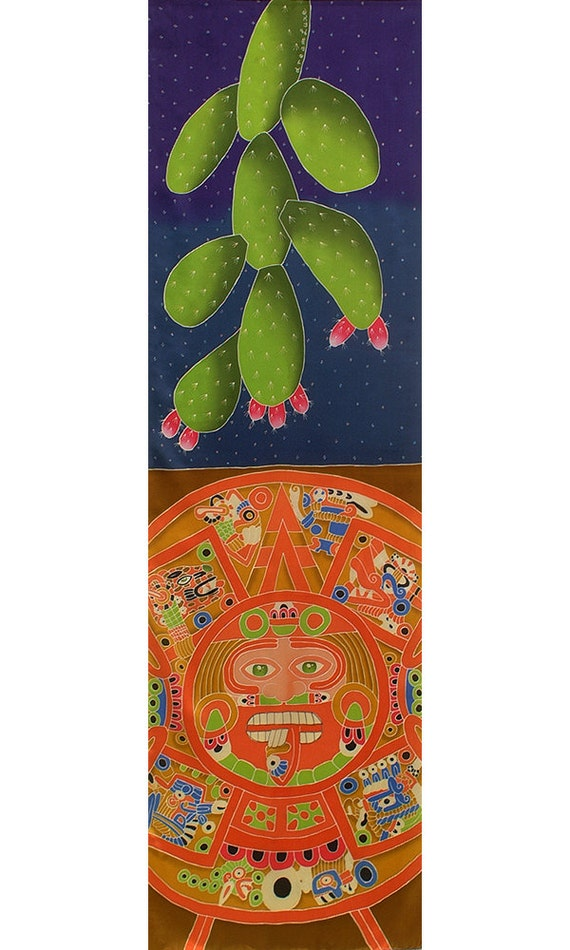 Aztec calendar and cactus Mexican scarf colorfully hand painted