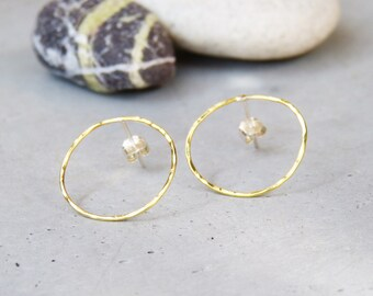 Gold hoop earrings rings Golden circles, hammered brass rings trends chips