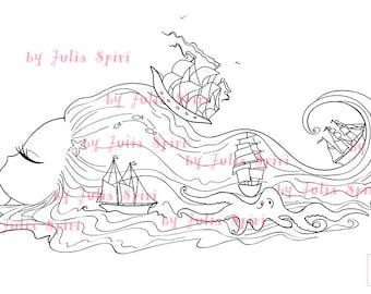 Digital Stamps Digi Stamp Coloring Pages Sea Hair Fantasy Scrapbooking