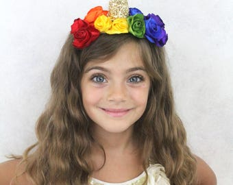 Rainbow Unicorn Headpiece - Unicorn Clip Rainbow Flower Unicorn Horn Clip-In