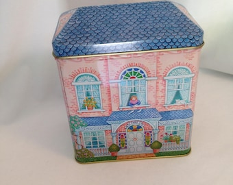 Tin Container,Hallmark, Made in USA, Two Story House Design