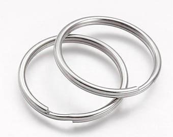 4 Key Rings Stainless Steel Split Ring - 35mm Ring - FD524