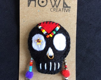 Beaded Skull Brooch