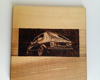 VW golf mk1 pyrography photo for wall, house decor.