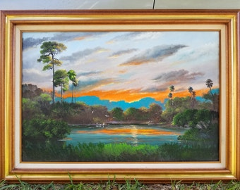 Original Oil Painting Florida Landscape Art Painting Kissimmee River Sunset large framed