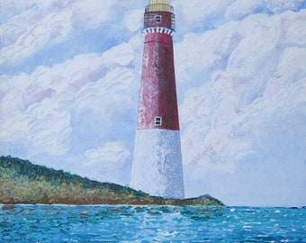 Old Barney Lighthouse, Original Paint on Canvas by American artist