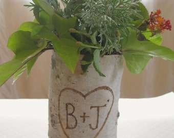 Customize  You and Your Sweethearts Initials - Birch Bark Vase