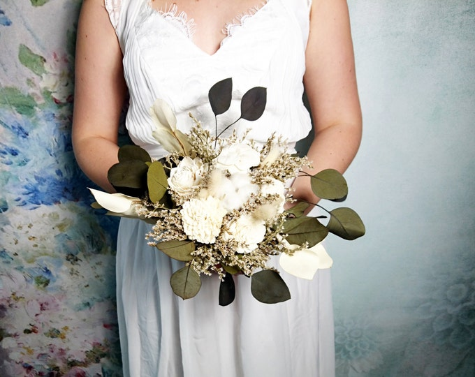 Ivory boho rustic wedding BOUQUET, eucalyptus, sola Flowers, dried grass, cotton boll, natural bouquet, bridesmaid, vine wire wild original