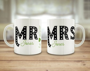 Mr and Mrs mugs, custom wedding gift, Mrs and Mrs gift, Mr and Mr mugs, Personalised wedding mugs, Newly wed gift, Anniversary gift,