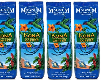 Magnum Exotics Kona Blend Coffee, 1 Pound, Whole Bean 6 packs
