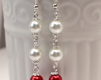 White & Red Pearl Earrings, Red Pearl Drop Earring Dangles, Wedding Pearls, Long Pearl Dangles, White Pearl Earrings, Holiday Jewelry (E573)