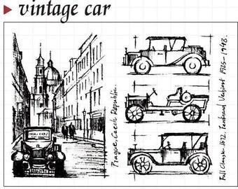 Vintage Car Clear Rubber Stamp Set w/ Prague, auto, automobile, transparent