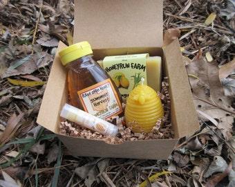 Gift Package - 8 oz Summer Honey, Lemongrass Soap, Hive Candle, Honey Lip Balm