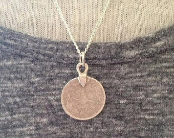 Silver Coin Necklace, Coin Necklace, Boho Necklace, Birthday Gift, British Seller UK,Mothers Day Gift