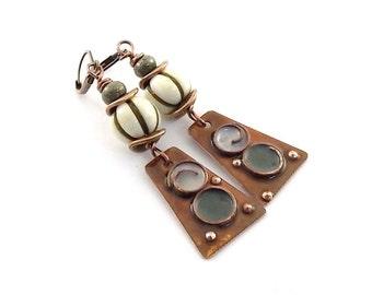 Handmade Earrings, Enameled Earrings, Rustic Metal Earrings, Boho Earrings, Rustic Earrings, Industrial Earrings, Artisan Earrings, AE009