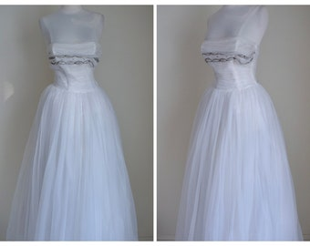 Vintage 1950s White Chiffon Gown | Beaded Strapless Dress