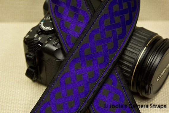 Celtic Purple Camera Strap 2 in Wide Custom Padded Celtic Running Knot Design Royal Purple on Black DSLR SLR
