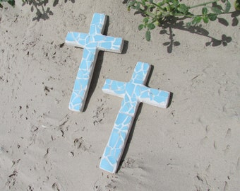 Coastal Ocean Blue Tile Wall Cross