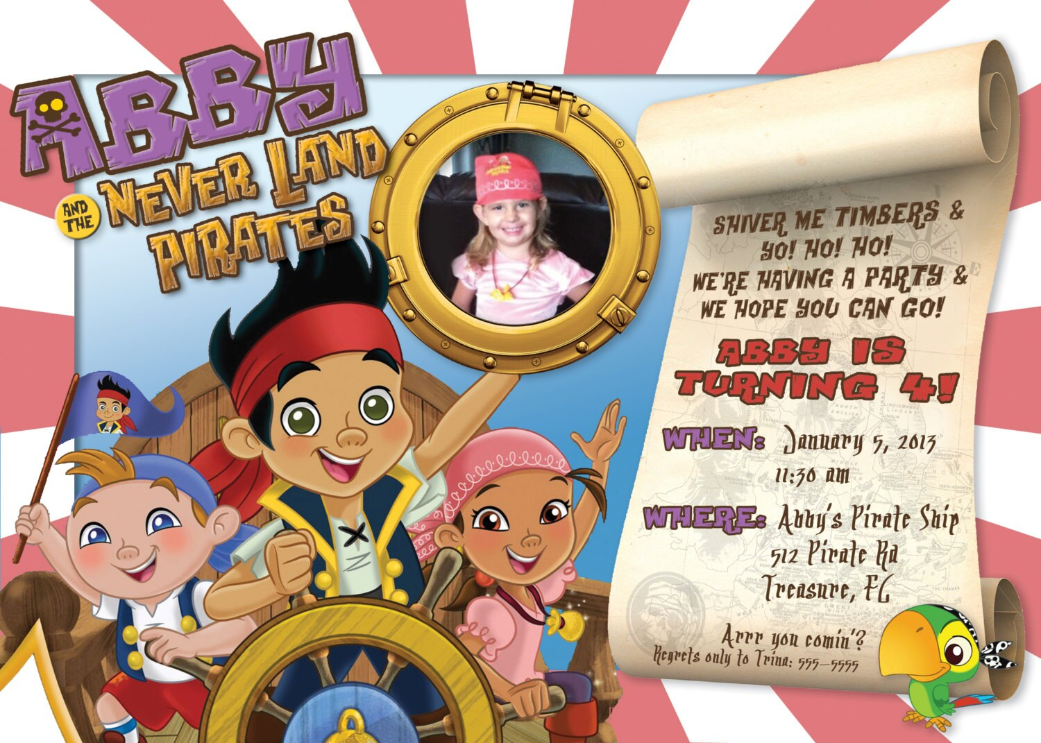 Jake & the Neverland Pirates Girl/Boy Customizable Birthday
