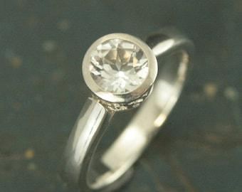 Flourish Bezel Ring~Silver Engagement Ring~Bezel Engagement Ring~Bezel Set Ring~Modern Filigree Ring~Moissanite Engagement Ring~Elegant Ring