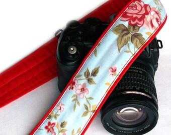 Flowers Camera Strap. DSLR Camera Strap. Canon Nikon Camera Strap. Blue Red camera strap. Cute Camera Strap. Personalized Accessories, Gift