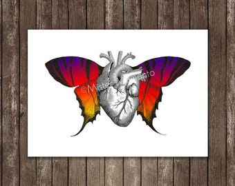 wall hanging anatomical heart with butterfly wings, butterfly wall decor, heart poster, butterfly prints