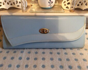 1950s clutch purse/bag baby blue leather