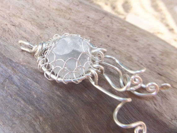 Jellyfish Necklace - French Sea Glass - 40th Birthday Gift for Woman - Bonjour Sea Glass by Goofy Moose
