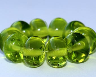 """Handmade Lampwork Beads, 10 Pieces """"Transparent Bright Grass Green"""", Size about 8.9 to 9.3 mm"""