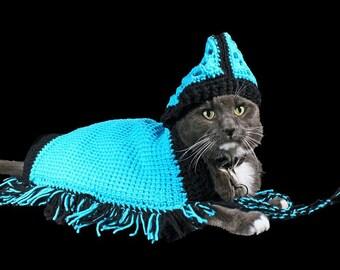 Pet Sweater, Pet Hoodie,  Pet Jacket, Pet Poncho for Cat, Dog, or Other Pet, Original Design, Rhinestone Flower Adornment
