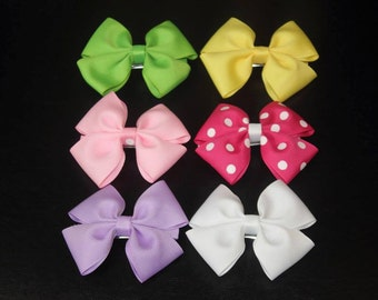 Set of two  Pinwheel Hair Bow French Clip