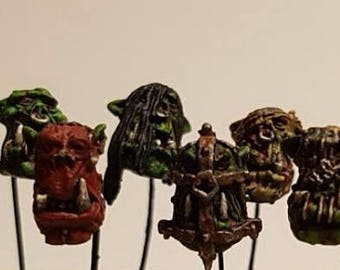 12 Slave Orc Heads of Ancient Times Admiralty Miniatures 28mm model fantasy wargaming conversion kit bitz suitable for T9A KoW Warhammer