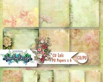 CU Commercial Use Background Papers set of 6 for Digital Scrapbooking or Craft projects LOIS, Designer Stock Papers