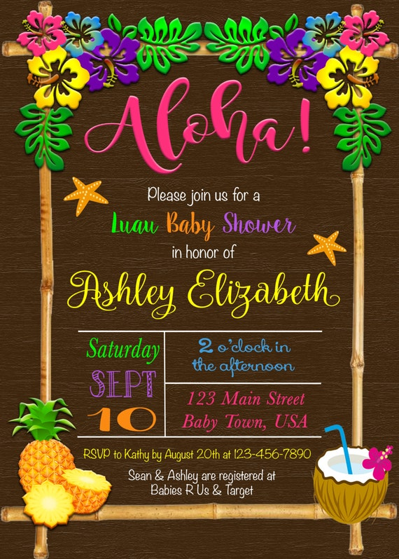 Luau Baby Shower Invitation; Aloha Baby Shower Invitation; Hawaiian Baby  Shower Invitation; Tropical Baby Shower Invitation; Luau Invitation