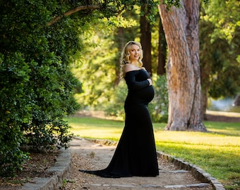 Maternity Dress-Baby Shower Dress-Long Maternity Dress-Sweetheart Maternity Gown-Maxi Gown-Long Sleeves Maternity Dress-PENELOPE Dress
