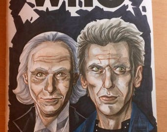 FIRST & TWELFTH Doctors Sketch Cover - by comic book artist Blair Shedd