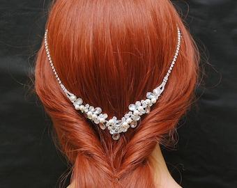 Boho Wedding Headband, Bridal Headband, Wedding Headpiece, Beach wedding Hair Vine, Pearl 1920s Headpiece, prom hair accessory,