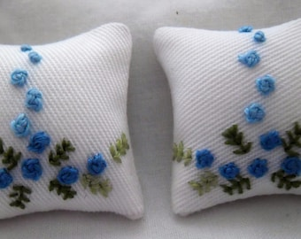 Hand Stitched White Cushions with Blue Floral Design 1/12th Scale
