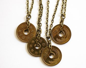 Lucky Coin Japanese Yen Coin Necklace Pendant Undrilled 5 Yen Coin Recycled Repurposed Coin Pendant Jewelry by Hendywood