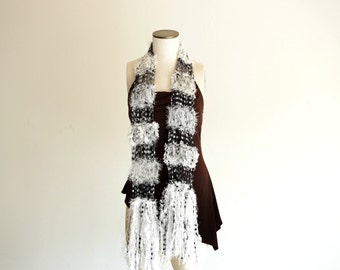 Black and White Scarf - See Through Lightweight Hand Knit Fashion Scarf Accessory with Sparkle Fringe for Women or Teen Girls