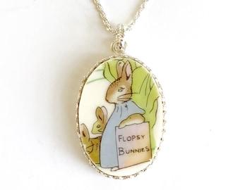 Beatrix Potter China Necklace, Flopsy Bunnies, Peter Rabbit Baby Shower Gift for New Mom