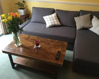 POLA - Handmade Reclaimed Dark Oak Coffee Table with shelf and H style box Steel legs. Custom Made To Order.