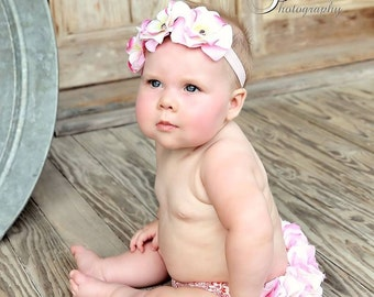 Newborn Girl Photo Outfit, Pink and Cream Hydrangea Diaper Cover & Headband, Hydrangea Bloomer, Baby Shower Gift, Birth Announcement Outfit