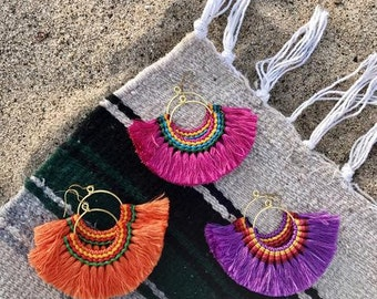 Fringe Hoop Earrings. Tassel Earrings. Hmong earrings. Fringe jewelry. Hoop earrings. Beach jewelry. Boho earrings. Bohemian earrings.