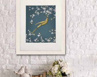 Hummingbird print - Golden hummingbird 2 - Hummingbird art Hummingbird painting Bird art Bird painting Blue decor Flower painting floral art