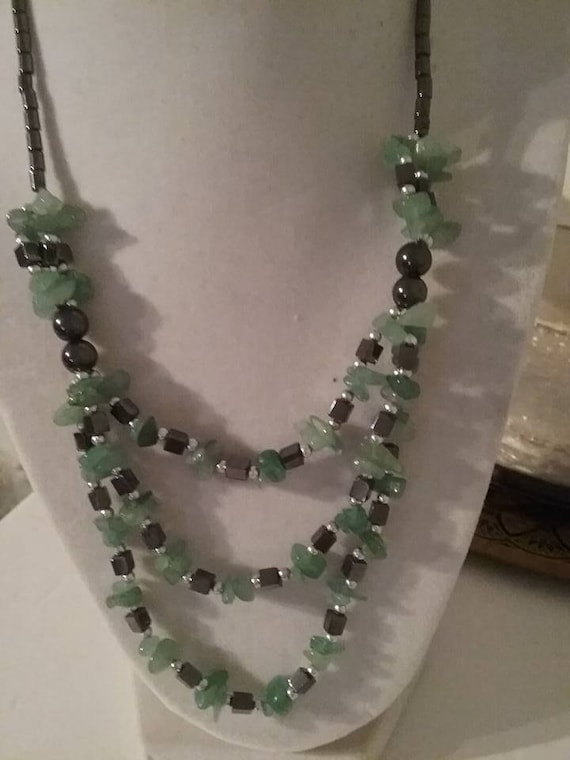 Jade and Hematite Necklace, Vintage Hematite and Jade Necklace, 3 Strand Jade and Hematite Necklace, Jade Chips and Hematite Beads Necklace